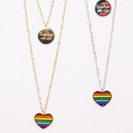 Collana 2 fili Cuore arcobaleno