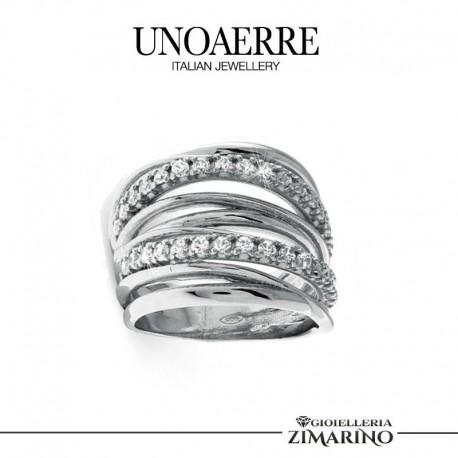 UNOAERRE anello Argento bianco